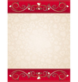 Beige valentine background with red floral border vector