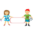 Children holding a banner vector