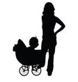Mother and baby in the pram vector