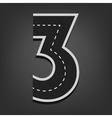 Three number road font vector