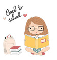 Young girl with glasses reading a book school vector