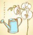 Watheringcan flowers vector