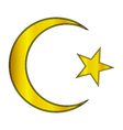 Gold star and crescent icon vector