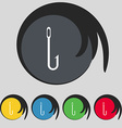 Fishing hook icon sign symbol on five colored vector