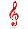 Red treble clef vector