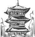 Sketch of japan landmark kiyomizu temple vector