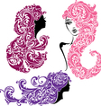 Set of glamour girls with floral ornament vector