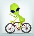 Cartoon alien cycling vector