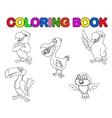 Bird collection coloring book vector