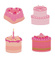 Set of pink sweets cakes vector