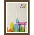 Travel asia landmarks skyline vintage background vector