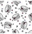 Seamless pattern with doodle burger vector
