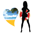 Girl with life saver silhouette and heart beach vector