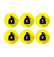 Money bag icon set with currency symbol flat vector