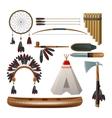 Ethnic american indigenous set vector