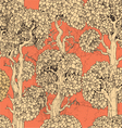 Seamless pattern of gold enchanted old trees vector
