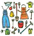 Gardening tools pattern vector