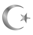 Metal star and crescent icon vector