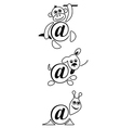 International sign email animals contour vector