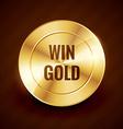 Win gold label beautiful design vector