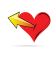 Heart in red color with arrows vector