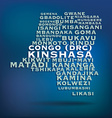 Congo drc map made with name of cities vector