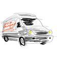 Delivery van sketch vector