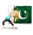 The pakistan flag at the back of a girl vector