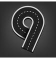 Nine number road font vector