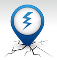 Warning blue icon in crack vector