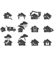 Set of house disaster icon vector