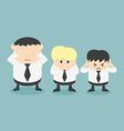 Three businessmen see no evil hear no evil speak n vector