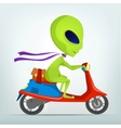 Cartoon alien scooter vector