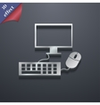 Computer monitor and keyboard icon symbol 3d style vector
