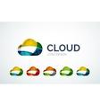 Cloud logo design made of color pieces vector