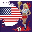 Football poster with girl and american flag vector