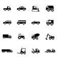 Black vehicle icons set vector