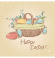 Easter card with basket full of painted eggs vector