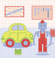 Robot in the car service vector