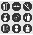 Barber shop monochrome icons set vector