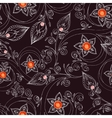 Seamless pattern with flowers doodles and rubies vector