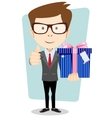Businessman with colorful gift boxes giving the vector