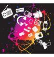 Electronic gadgets grunge splat vector