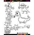 Fantasy set cartoon coloring page vector