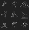Set of black and white sport icons vector