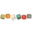 Word letter written with alphabet blocks vector