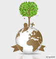Save the world tree on a deforested globe vector