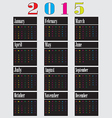 Colorful calendar for 2015 starts sunday2 01 vector