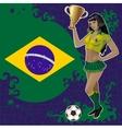 Football poster with girl and brazilian flag vector