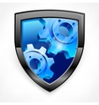 Shield with blue gear on white vector